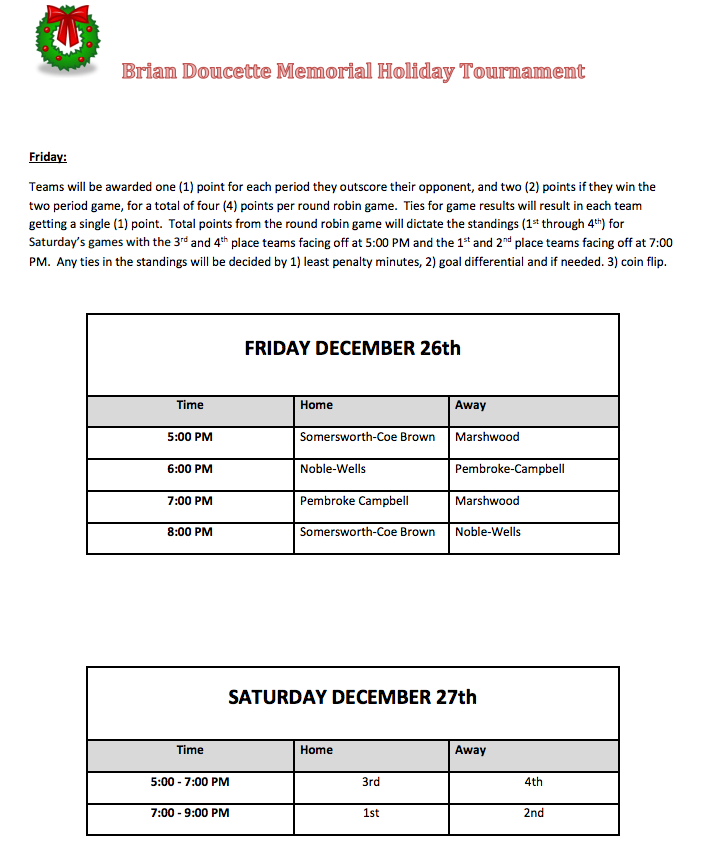 Brian Doucette Memorial Christmas Tournament